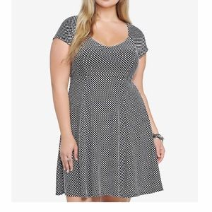 Torrid Jacquard Polka Dot Fit & Flair Skater Dress